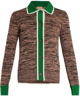 No.21 NO. 21 Contrast-placket cotton-blend cardigan