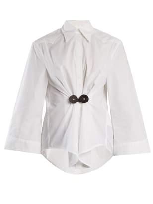 MM6 MAISON MARGIELA Leather-trimmed cotton-poplin shirt