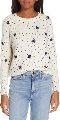 Rebecca Taylor Embroidered Dot Wool Blend Sweater