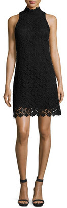 Trina Turk Sleeveless Mock-Neck Floral Lace Shift Dress, Black $298 thestylecure.com