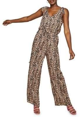 Miss Selfridge Sleeveless Leopard Printed Jumpsuit