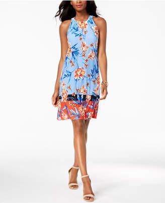 MSK Petite Printed Colorblocked Halter Dress