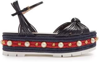 Gucci Pearl-embellished leather flatform sandals