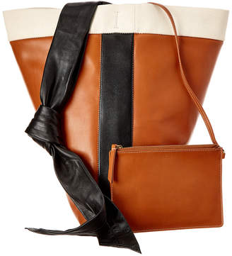 Celine Band Twisted Cabas Leather Shoulder Bag