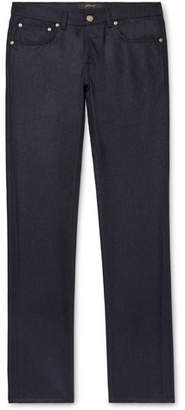 Brioni Slim-Fit Melange Wool Trousers - Men - Navy