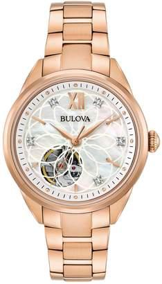 Bulova Women's Diamond Stainless Steel Automatic Skeleton Watch