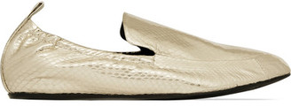 Lanvin - Metallic Watersnake Loafers - Gold $695 thestylecure.com