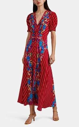 Saloni Women's Lea Dot- & Floral-Pattern Silk Dress - Red