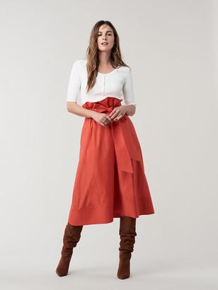 Diane von Furstenberg Maggie Cotton Poplin Belted Midi Skirt