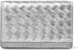 Bottega Veneta - Metallic Intrecciato Leather Cardholder - Silver $320 thestylecure.com