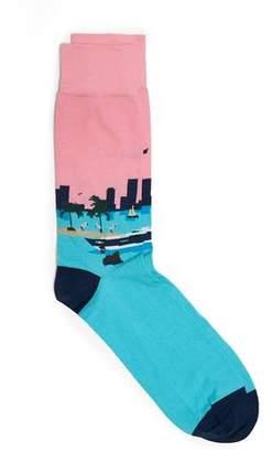 Corgi Cotton Blend Miami Scene Socks