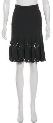 Alaia Knee-Length Laser Cut Skirt