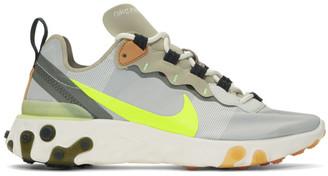 Nike Grey and Khaki React Element 55 Sneakers