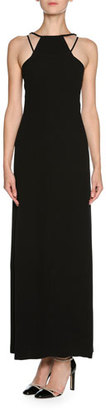 Giorgio Armani Sheer Tulle Sleeveless Halter Gown, Black $4,595 thestylecure.com