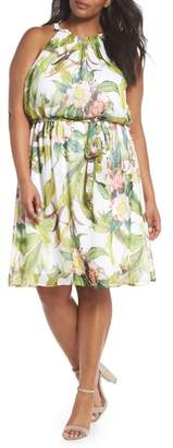 Adrianna Papell Adrianne Papell Tahitian Tropics Blouson Halter Dress