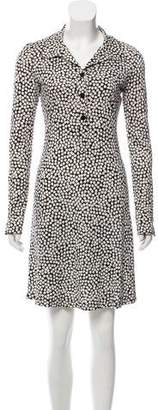Diane von Furstenberg Leaf Print Long-Sleeve Work Dress