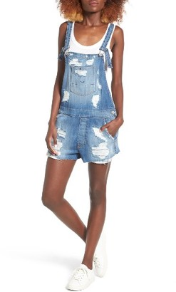 Women's Hudson Jeans Florence Rip & Repair Short Denim Overalls $265 thestylecure.com