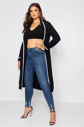 boohoo Plus Contrast Piping Detail Duster