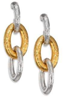 Gurhan Hoopla 24K Yellow Gold & Sterling Silver Galahad Long Drop Hoop Earrings