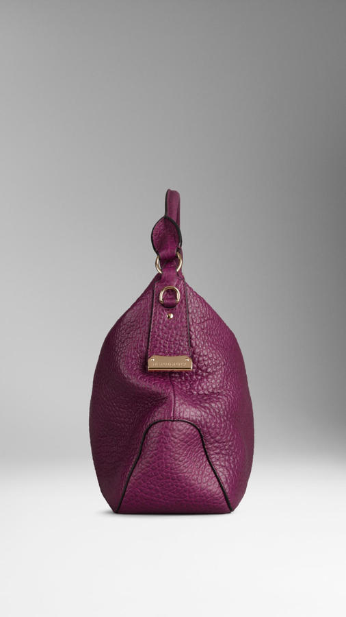 Burberry Small Heritage Grain Leather Hobo Bag