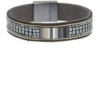 Saachi On a Whim Chain Accented Beaded Leather Bracelet