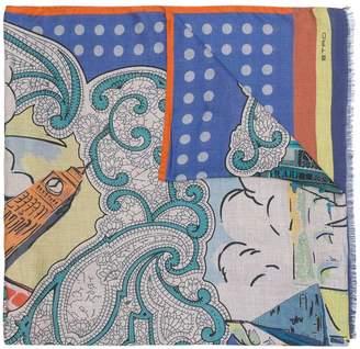 Etro printed frayed hem scarf