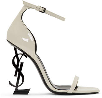 Saint Laurent White Patent Opyum Sandals