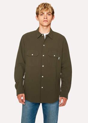 Paul Smith Men's Classic-Fit Khaki Two-Pocket Textured Cotton Shirt