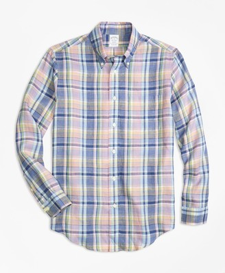 Brooks Brothers Regent Fit Lavender Plaid Irish Linen Sport Shirt