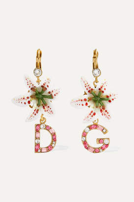Dolce & Gabbana Lilium Gold-tone, Resin And Crystal Earrings - Pink