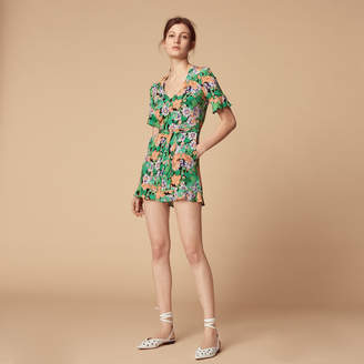 Sandro All-over floral print silk playsuit