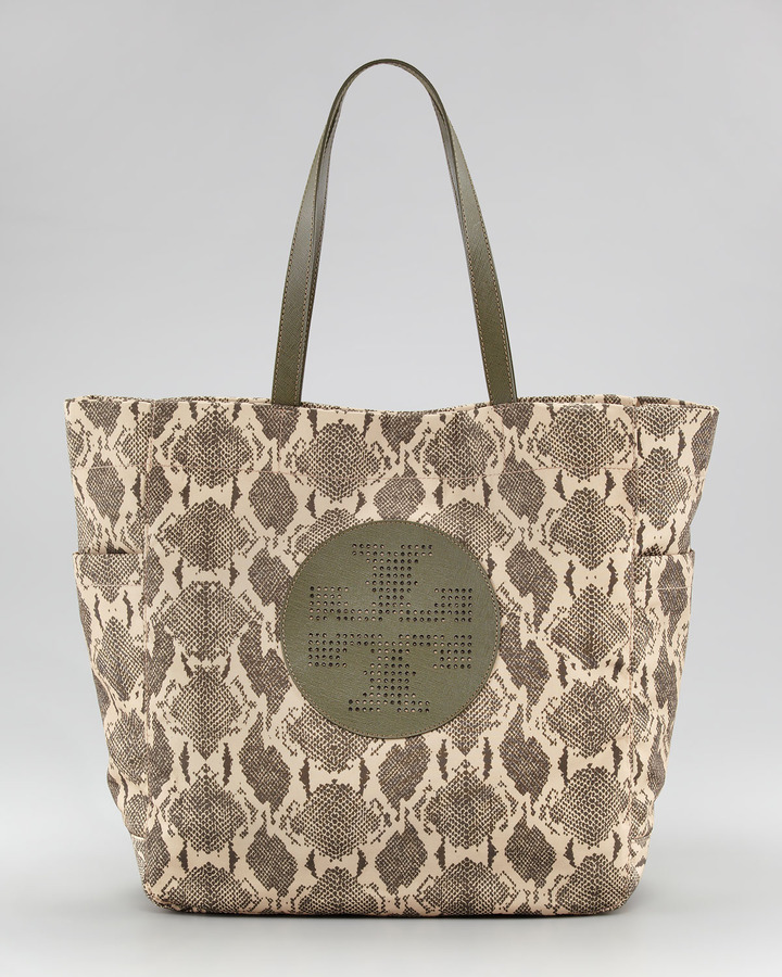 Tory Burch Billie Snake-Print Shopper