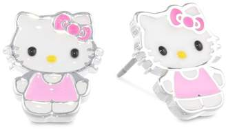 Hello Kitty Girls Silver Plated Brass Enamel Stud Earrings
