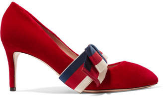 Gucci Striped Bow-embellished Velvet Pumps - Red