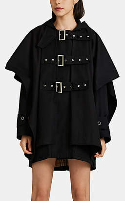 Burberry Women's Buckle-Detailed Cotton Twill Cape - Black