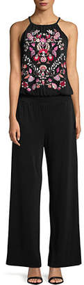 INC International Concepts Petite Embroidered Sleeveless Jumpsuit