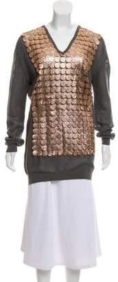 Marco De Vincenzo Embellished Open-Knit Sweater