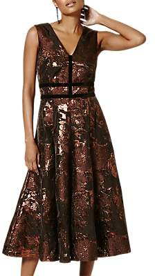 Phase Eight Nanette Jacquard Dress, Black/Bronze