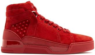 Christian Louboutin Loubikick spike high-top suede trainers