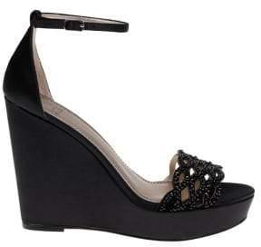 Belle Badgley Mischka Quintana Satin Platform Wedge Sandals