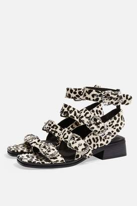 Topshop VICTORY Monochrome Leather Buckle Sandals