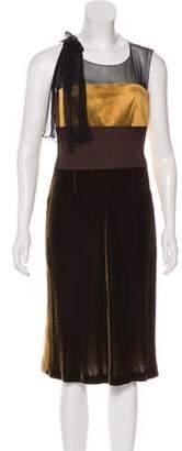 Alberta Ferretti Silk & Velvet Dress w/ Tags Gold Silk & Velvet Dress w/ Tags