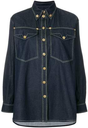 Versace embellished button denim shirt