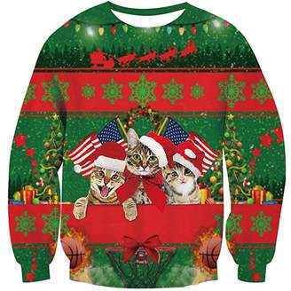 d57de92d Hunzed Men【Christmas 3D Printed Pullover】 Mens Christmas Sweatshirts Printed  Graphic Long Sleeve Shirts Swimwear