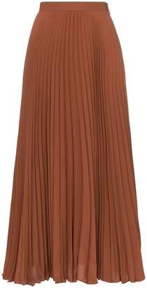 Valentino high-waisted pleated silk midi skirt