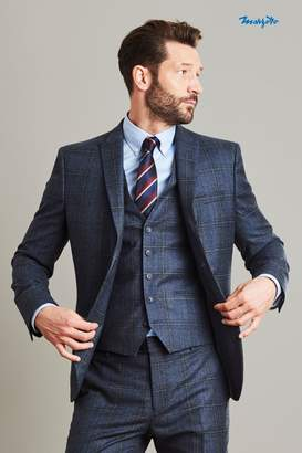 Next Mens Blue Skinny Fit Marzotto Signature Check Suit: Jacket - Blue