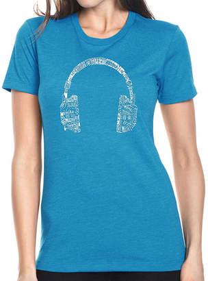 LOS ANGELES POP ART Los Angeles Pop Art Women's Premium Blend Word ArtT-shirt - HEADPHONES - LANGUAGES