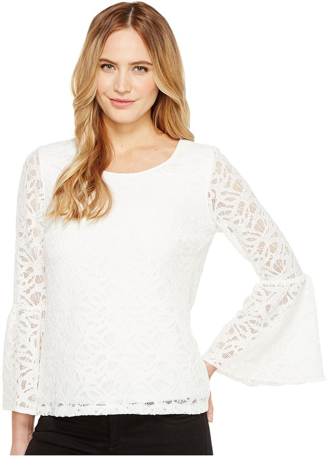 Calvin Klein - 3/4 Lace Flutter Sleeve Top Women's Clothing