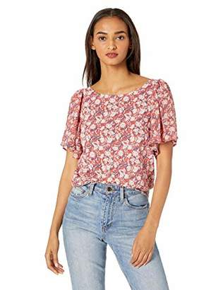 Lucky Brand Women's Border Print Woven Mix TOP with Back Keyhole