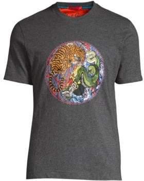 Robert Graham Men's Yin Yang Cotton T-Shirt - Grey - Size Small